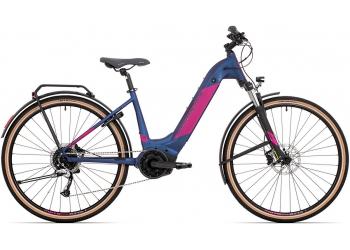 Elektrokolo Rock Machine CrossRide INT e500 Bosch lady touring mat dark blue/pink 2021